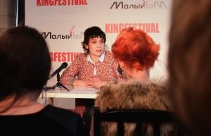 Надежда Алексеева на пресс-конференции
